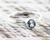 Silver Ring Band Blue Topaz Custom Stone Rings for Women Sterling Jewelry