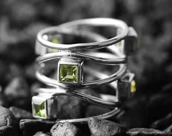 Gold Peridot Ring 14k White Delicate Engagement Rings for Women Personalised Gemstone