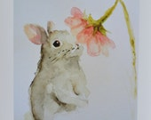 Bunny Rabbit PRINT 8x10 from original watercolor painting