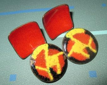 Vintage MOD Modernist Red Enamel and Copper Earrings Earring LOT