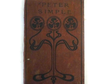 """Antique Distressed Printed Fabric Cover Book Board Peter simple  7 3/8"""" x 4 5/8"""""""