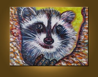 Mr. Raccoon -- 9 x 12 x 2 Original Oil Painting by Elizabeth Graf on Etsy -- Art Painting, Art & Collectibles
