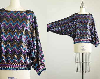 80s Vintage Rainbow Sequin Batwing Sleeve Tunic Blouse / Size Medium / Party / Disco / Indie / Hipster Style