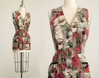90s Vintage Sienna and Sage Floral Print Sleeveless Tunic Top/ Size Small / Medium