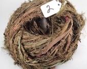 CUSTOM FOR ARTDIVAS. Recycled Silk Sari Ribbon, seaweed brown Fuzzy ribbon,  brown ribbon