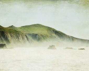 "Beach ocean photography print, California coastal art misty pale green blue rustic wall art ""Green and Mist"""