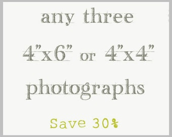 Photography Print Set / Three 4x4 or 4x6