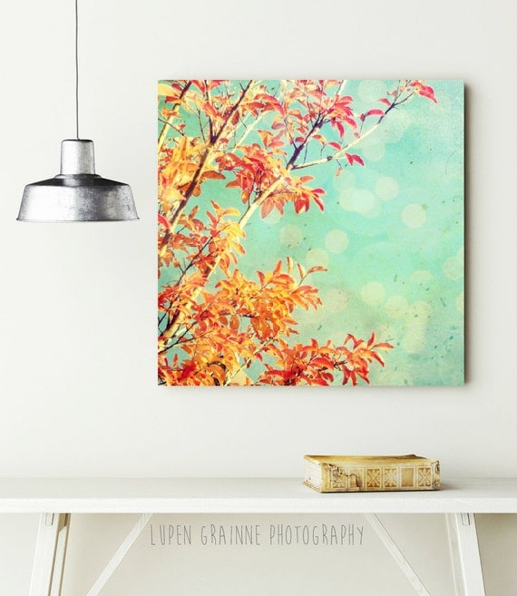 Orange and teal canvas art / large nature wall art / canvas gallery wrap / autumn leaves / colorful nursery decor 20x20  'Tangerine Dream'