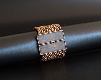 Bronze Textured Cuff Bracelet with Wide Rectangular Brass Box Clasp. Sparkling Statement Cuff Bracelet. Bold Bracelet w Faceted Beads S-339