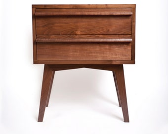 Modern nightstand solid walnut