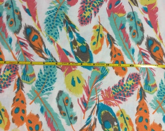 NEW BOLT by Girl Charlee bright feathers on cotton Lycra  knit fabric 1 yard