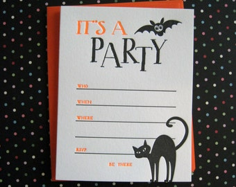 Letterpress Halloween Party Invitations  (set of 8)