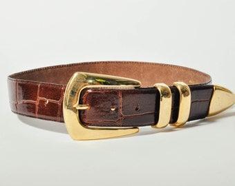 Dark Brown Wide Leather Belt Alligator Finish