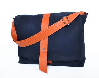 Waxed Canvas Messenger Bag, Waxed Canvas Mens Bag, Crossbody, Shoulder Bag, Work Bag, The Sloane Waxed Canvas Bag in Navy Blue