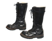 size 8.5 GRUNGE black leather 80s 90s COMBAT GOTH lace up tall boots