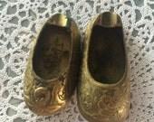 Vintage Brass shoe shoes India ashtrays set of 2 incense burner