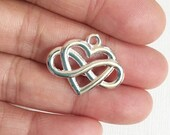 6 pcs of Silver plated heart charm 20x25mm, Silver heart pendant, Silver infinity heart pendant