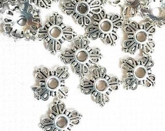 100 pcs of Antiqued Silver square flower filigree bead caps 8x8mm