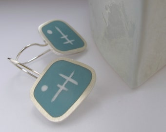 Pale Blue  Earrings - Handmade Square Silver Earrings -  Aqua Blue Resin Jewelry - Graphico Atomic