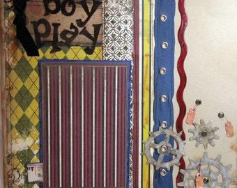 Scrapbook Premade BOY Page  - KitsNbitScraps