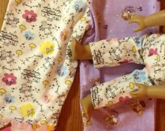 Easter Pajamas Mismatched Masterpiece..Girls size 4T Lounge Pants Matching  18 inch doll pants Fairy Princess Cupcake lounge pants