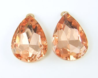 Peach Rhinestone Teardrop Earring Findings Large Drop Bridal Wedding Bridesmaid Special Ocassion Jewelry Component |LG13-2|2