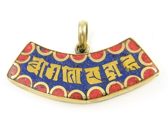 Blue Red Tibetan Amulet Pendant Six Word Curved Mantra Tribal Antique Metal Charm for Necklace |R3-15|1