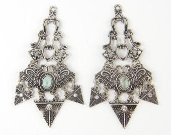 Ornate Silver Earring Findings Turquoise Antique Silver Tribal Earring Dangles Segmented Dressy Earring Component  B2-7 2