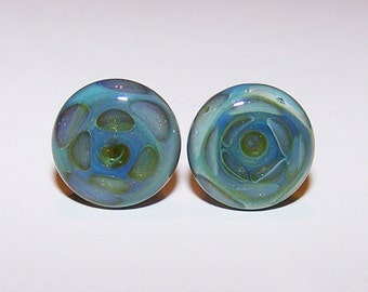 0 gauge green design glass plugs single flared pair with o-rings (476)