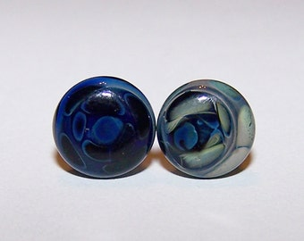 2 gauge blue design glass plugs single flare pair with o-rings (515)