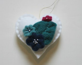 Felt Heart White with Felted Blue Flowers