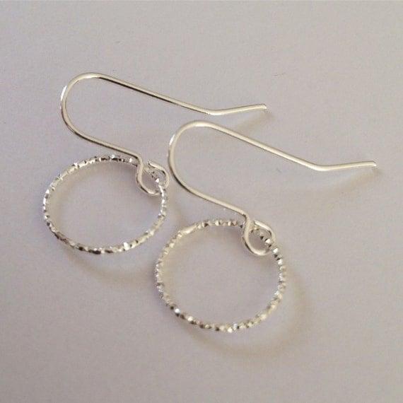 Diamond Cut Ring Earrings - Modern - Simple - Everyday -