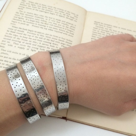 Stainless Steel Spotty Cuff - Silver - Adjustable - Bangle - Stacker - Festival - Gypsy - Frida Kahlo - Boho - Hammered - Handmade