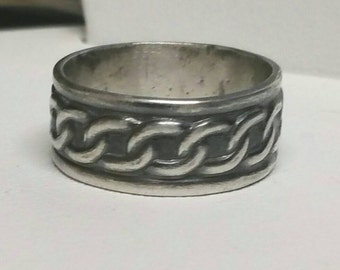 Oxidized Silver Celtic Ring , Sterling Silver Chain Ring , Wide Sterling Silver Ring, Size 6 Ring, Men's Ring by Maggie McMane Designs