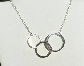 Linked Circles Necklace, Silver Connected Links Necklace, Fine Silver Three Circle Necklace, 16 to 18, Boho Jewelry in Maggie McMane Designs