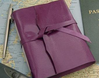 Purple Leather Journal Handmade Sketchbook Kidskin Journal Leather Sketchbook Unlined Travel Diary Purple Sketchbook Handmade in Texas
