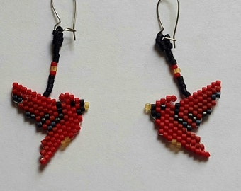 Tiny Hand Beaded Cardinal  Earrings