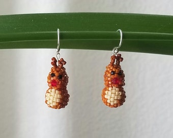 Tiny Hand Beaded Rudolph  Earrings