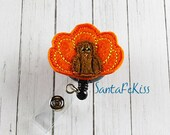 Thanksgiving TurkeyFelt Badge Holder with Retractable Badge Reel. A great gift for yourself or for your favorite nurse, teacher, coworker