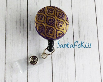 Purple and Gold Badge Holder with Retractable Badge Reel handmade with Polymer Clay - for Office / Nurse / Teacher/ Coworker