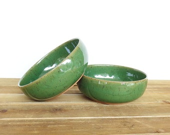 Stoneware Pottery Soup Bowls in Glossy Transparent Dark Green Glaze - Set of 2