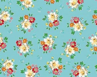 Aqua Blue Main Spring Blossoms Fabric BACKYARD ROSES by Riley Blake Designs