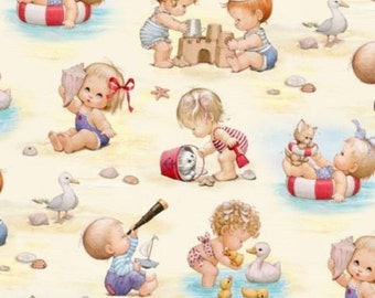 Retro Beach Kids Fabric by Elizabeth Studio