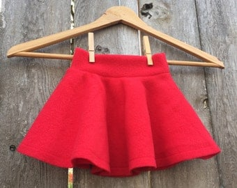 Size Medium --- Red Anti Pill Fleece Circle Skirt (ready to ship)