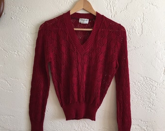 Vintage Petronelli Maroon Red Oxblood Crochet Sweater 70s Hipster Retro