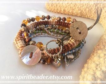Triple Bohemian Golden Brown Beach Bracelet Set of Three