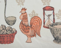 Vintage Mid Century Rooster Tablecloth Novelty Kitchen Pitcher Bowl