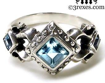 Silver Engagement Ring Blue Topaz Royal Princess Gothic Wedding Band Size 6
