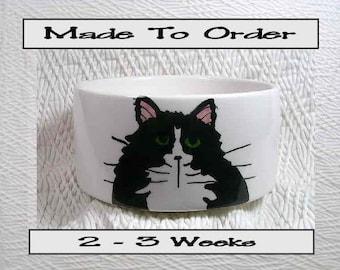 Medium Cat Bowl Black & White Tuxedo Cat Paw Prints Inside 20 Oz. Ceramic Handmade To Order