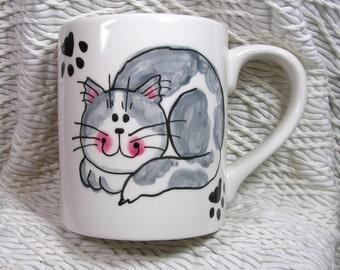 Grey and White Smiling Cat Ceramic Mug Handpainted Original Design With Paw Prints GMS